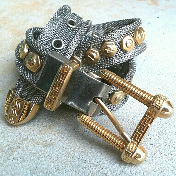 Mesh Nuts Bolts Hardware Belt Gold Silver Punk